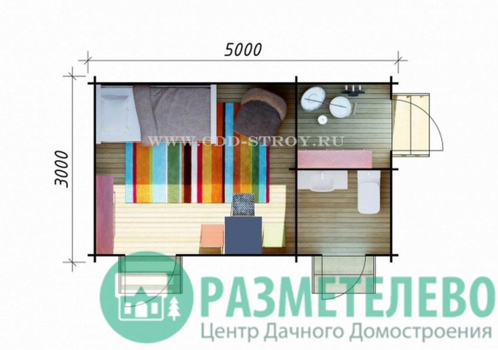 Хозблок, дачный домик 3х5 м