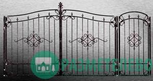 Кованные распашные ворота с калиткой серии Нарядные арт.07