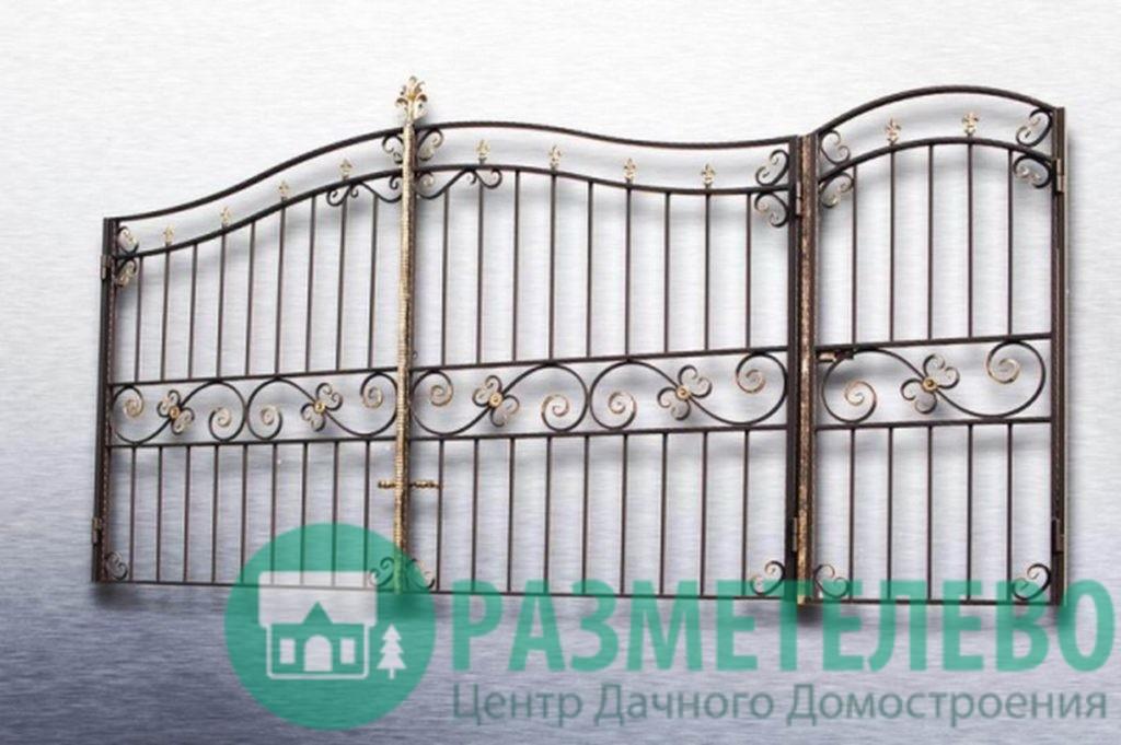 Кованные распашные ворота с калиткой серии Нарядные арт.06
