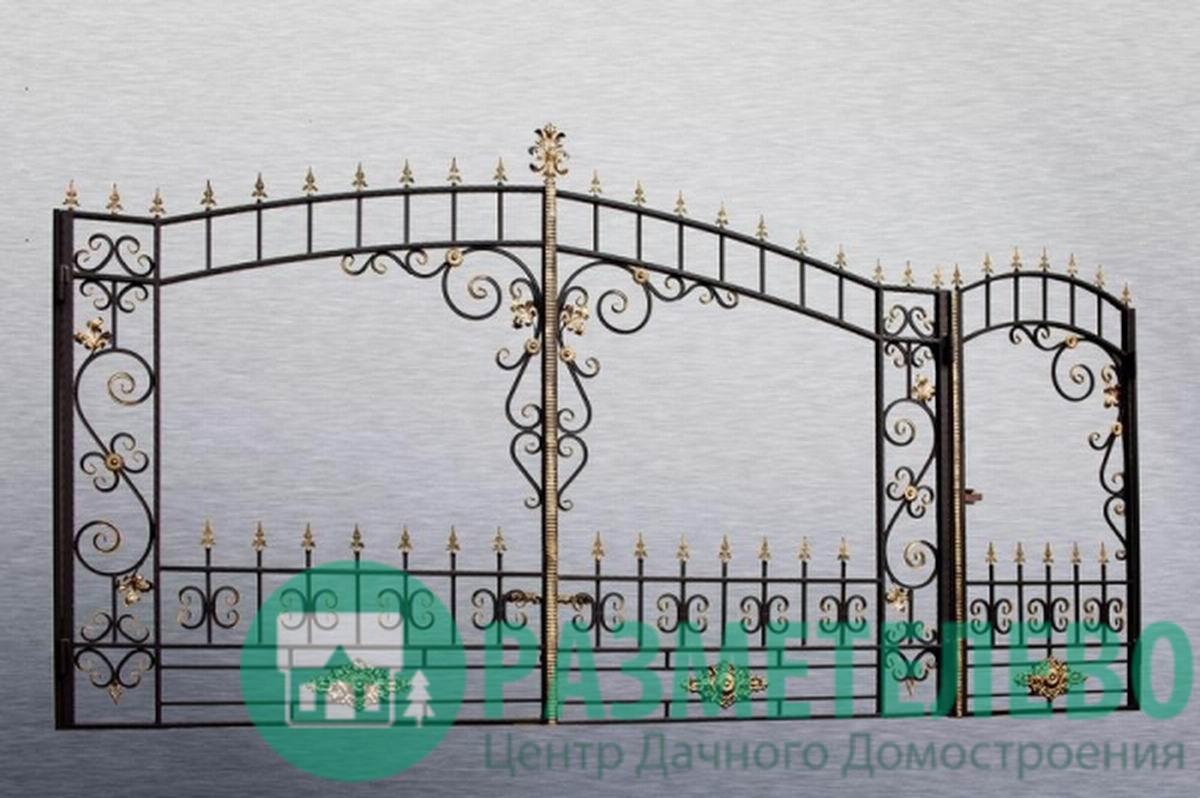 Кованные распашные ворота с калиткой серии Нарядные арт.05