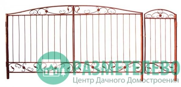 Распашные ворота 1650х3500 с калиткой, серия Дача
