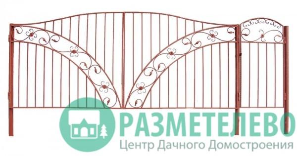 Распашные ворота 1650х4000 с калиткой, серия Фазенда