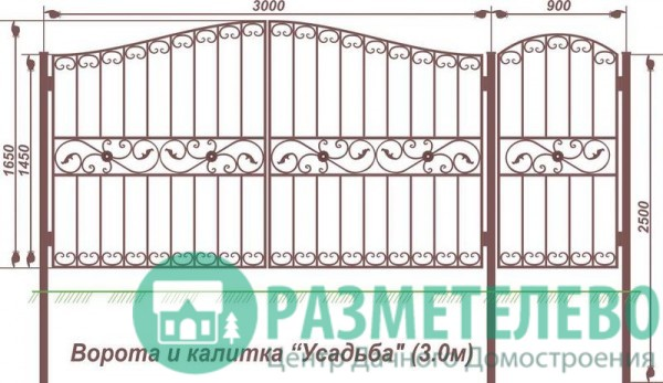 Распашные ворота 1650х3000 с калиткой, серия Усадьба