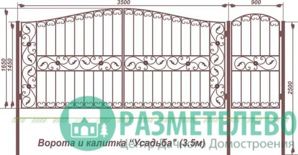 Распашные ворота 1650х3500 с калиткой, серия Усадьба