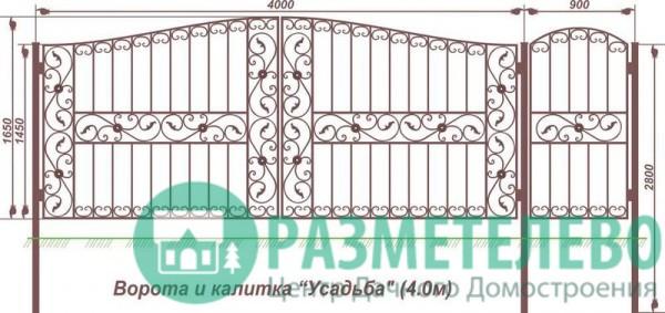 Распашные ворота 1650х4000 с калиткой, серия Усадьба