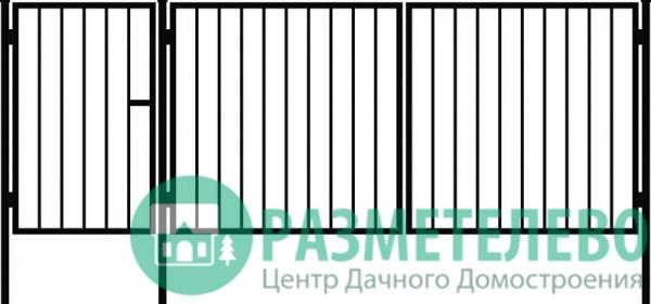 Распашные ворота 1500х3000 с калиткой, серия Бюджет