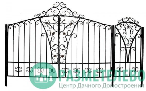Распашные ворота 1650х4000 с калиткой, серия Коттедж