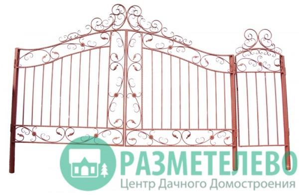 Распашные ворота 1650х4000 с калиткой, серия Династия