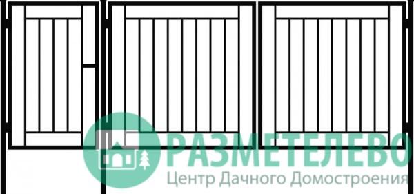 Распашные ворота 1500х3000 с калиткой, серия ВС-1