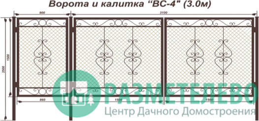 Распашные ворота 1500х3000 с калиткой, серия ВС-4