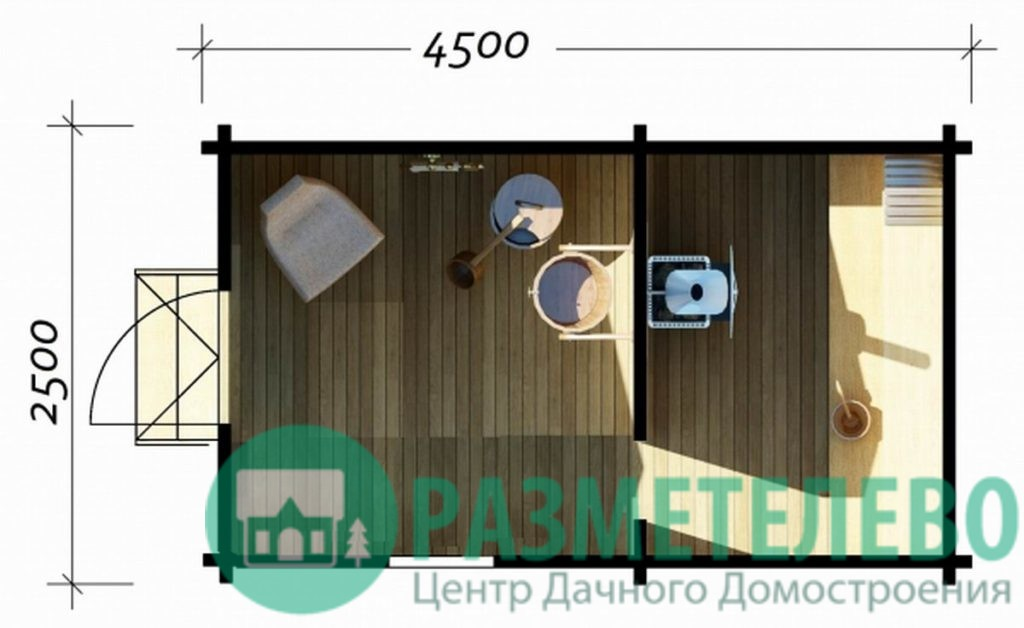 """Баня """"Эска"""" 4500 х 2500 (02)"""