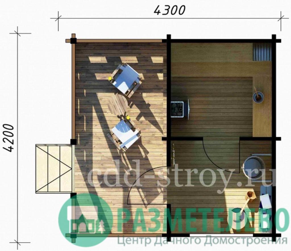 Баня с террасой 4200 х 2300 + 2000 (05)