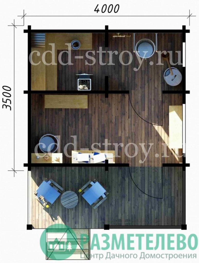 Баня с террасой 4000 х 3500 + 1500 (06)