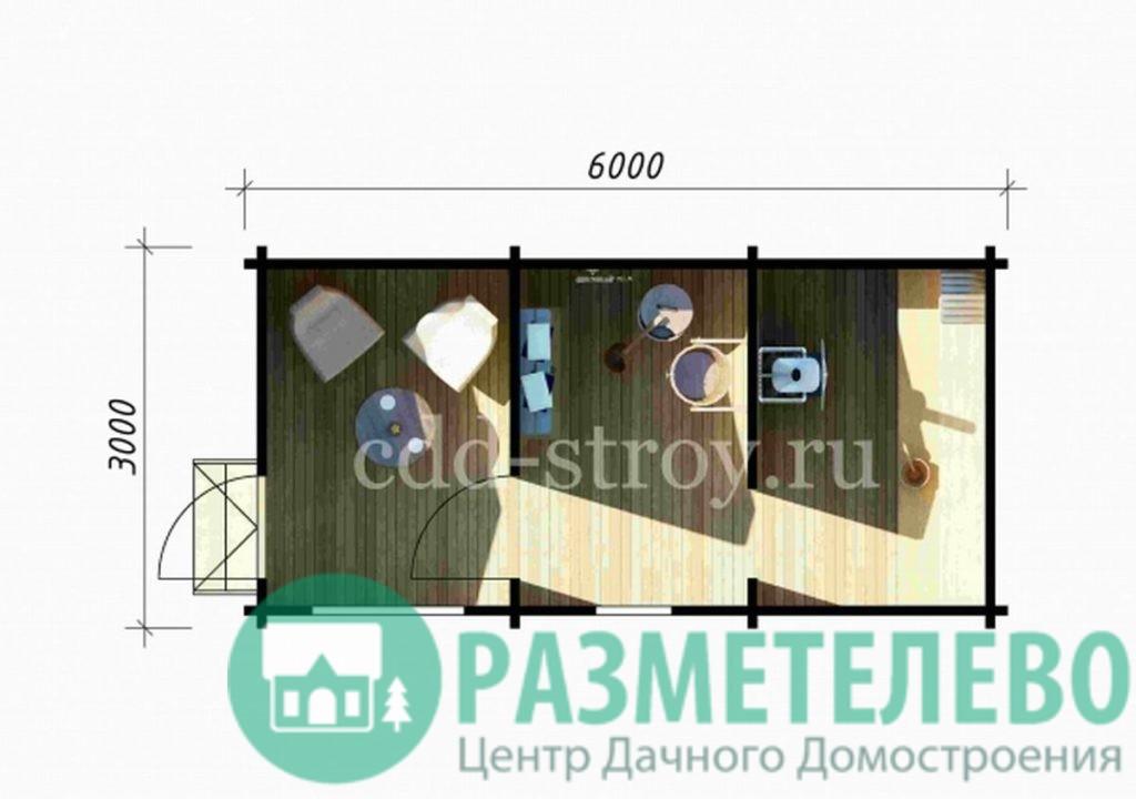 Баня 6000 х 3000 (07)