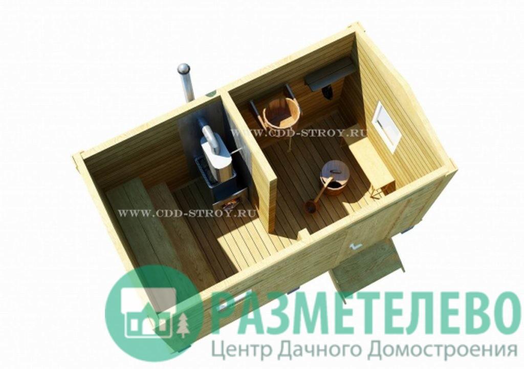 """Баня мобильная """"КОМПАКТ"""" с печью и полками. 2,3 х 4,0"""