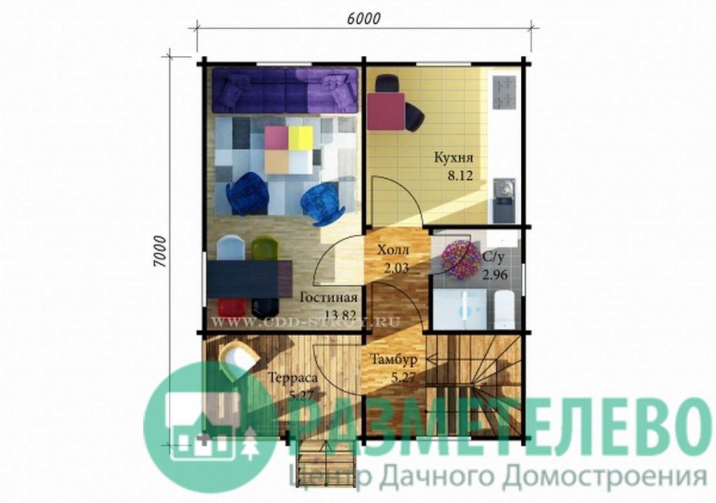 """Дачный двухэтажный дом  """"Гаити"""" (0714)"""