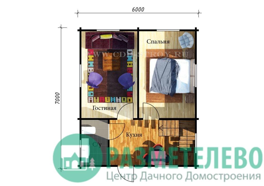 "Дачный двухэтажный дом ""Гавайи"" (0715)"
