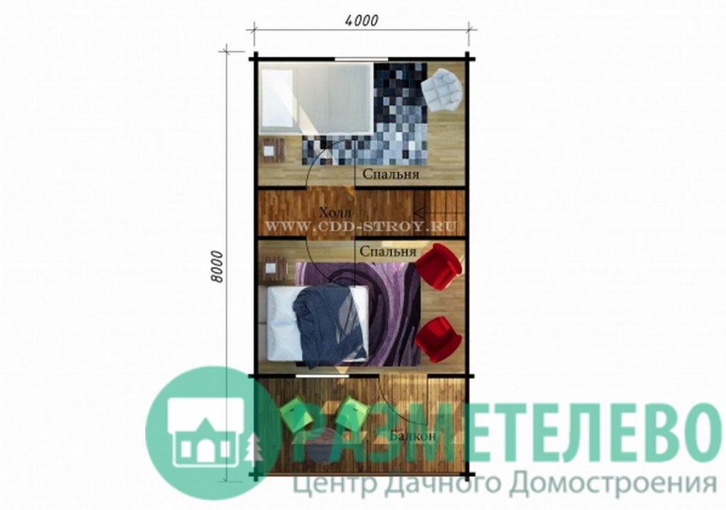 """Дачный двухэтажный дом """"Дуглас"""" (0716)"""