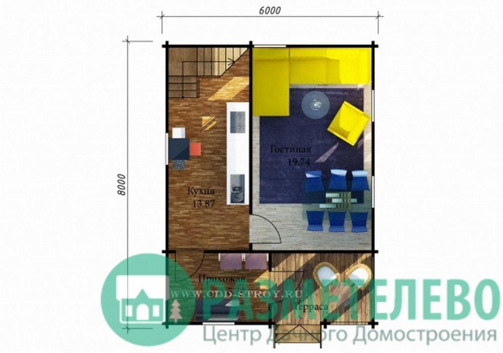 """Дачный двухэтажный дом  """"Изабелла"""" (0717)"""