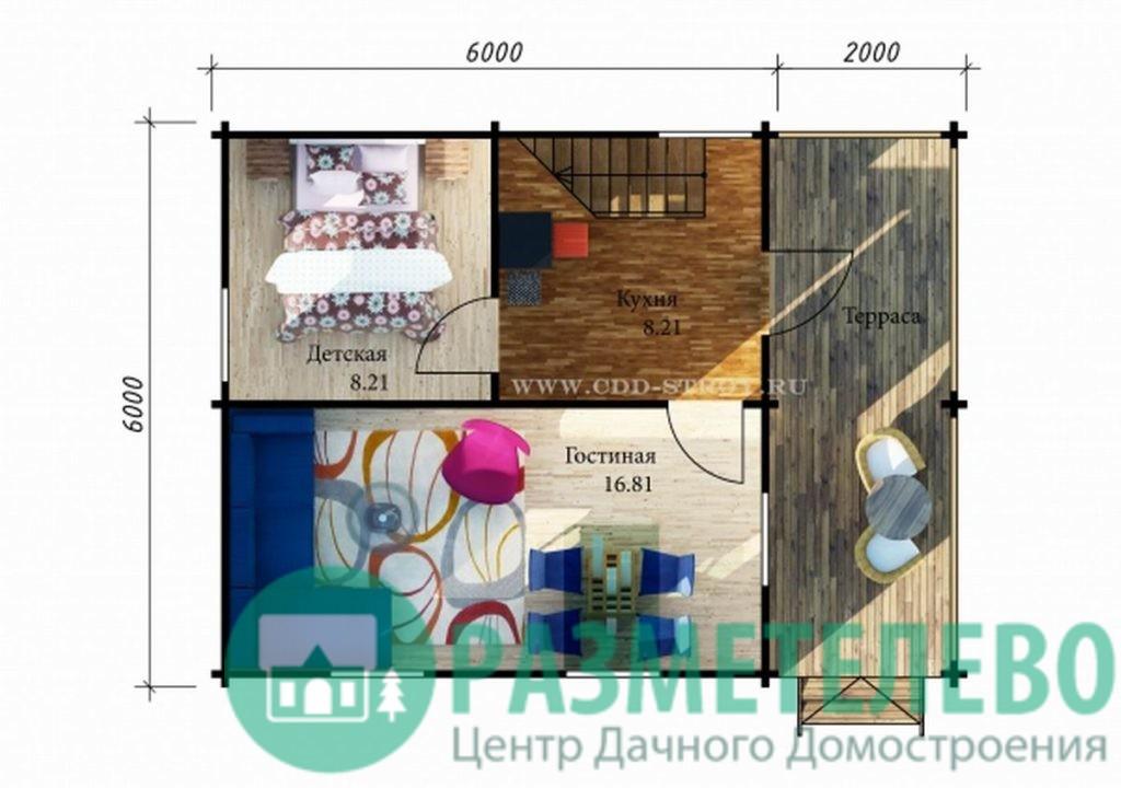 """Дачный двухэтажный дом  """"Мальта"""" (0718)"""