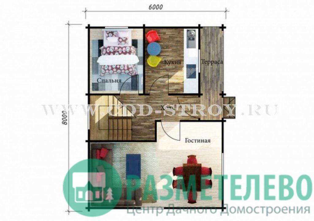 """Дачный двухэтажный дом  """"Монреаль"""" (0721)"""