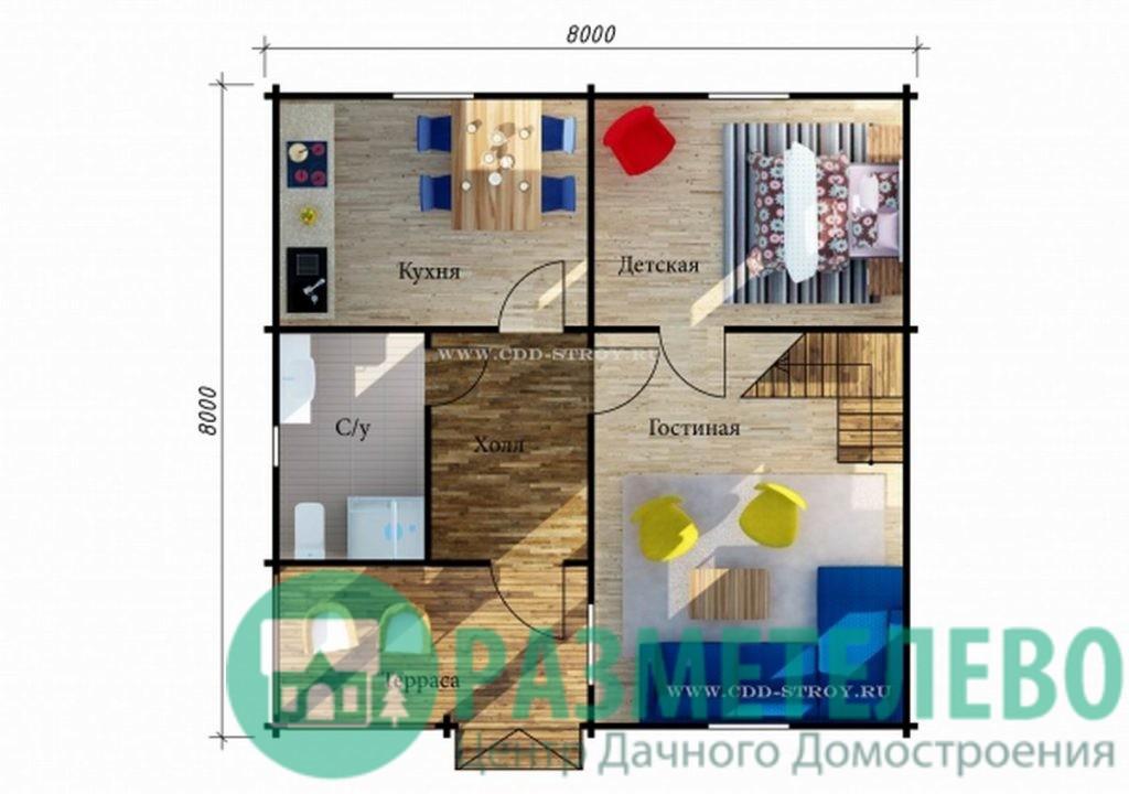 """Дачный двухэтажный дом """"Комино"""" (1004)"""