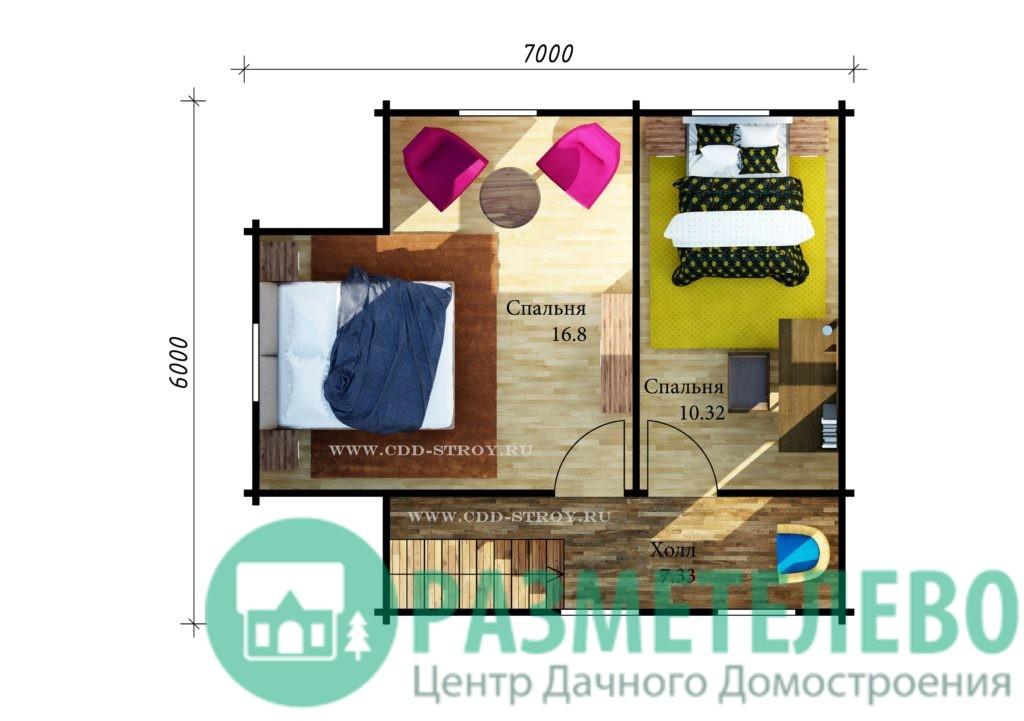 """Дачный двухэтажный дом  """"Сандей"""" (1007)"""
