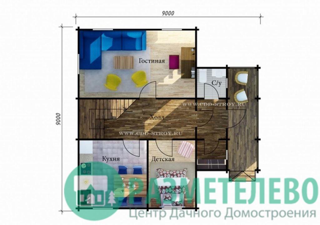 """Дачный двухэтажный дом  """"Таити"""" (1009)"""