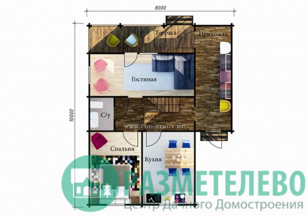 """Дачный двухэтажный дом """"Флорида"""" (1011)"""