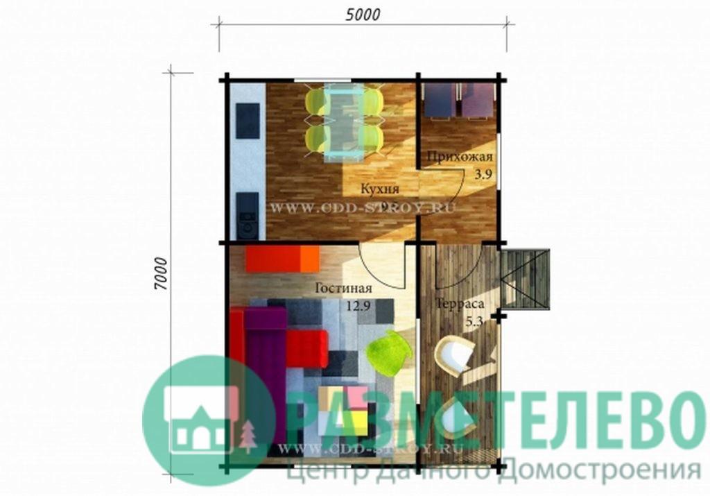 "Дачный одноэтажный дом ""Лантау"" (20703)"