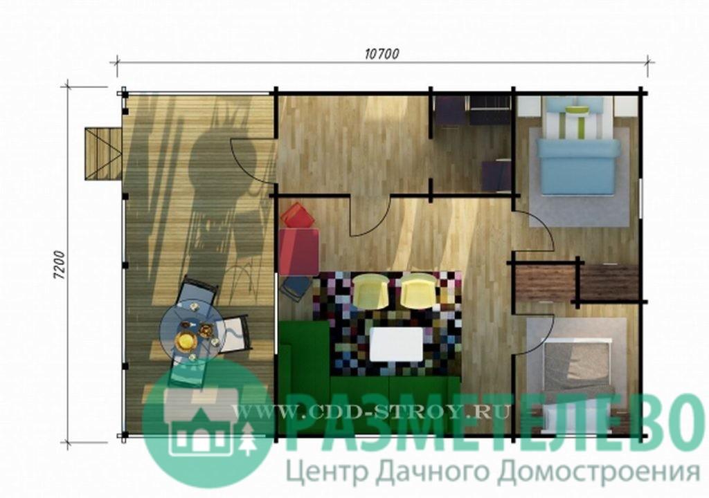 "Дачный одноэтажный дом 70105 ""Таун"""