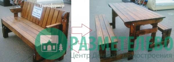 """Набор """"Стол и две скамьи"""" из бревна рубленного с покрытием пропиткой"""