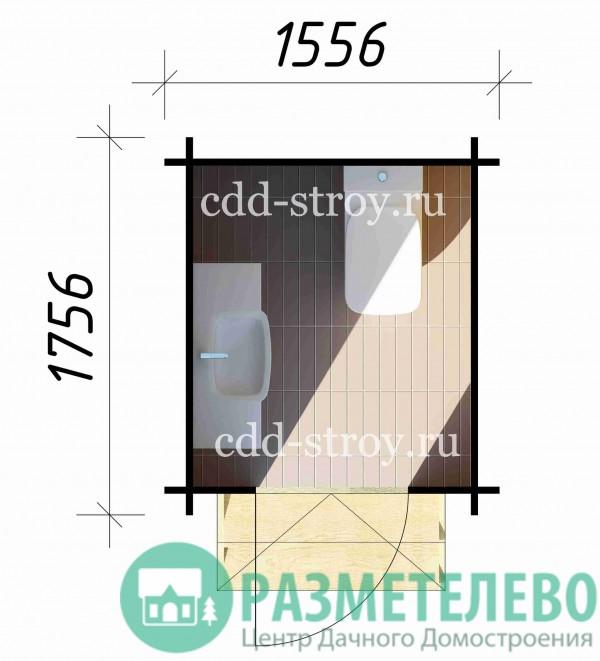 Туалет-душевая 1300х1500 (00)
