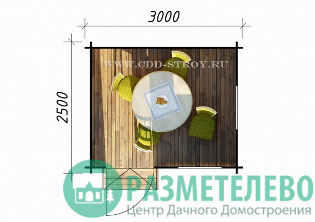 Домик садовый 3000х2500 (03)