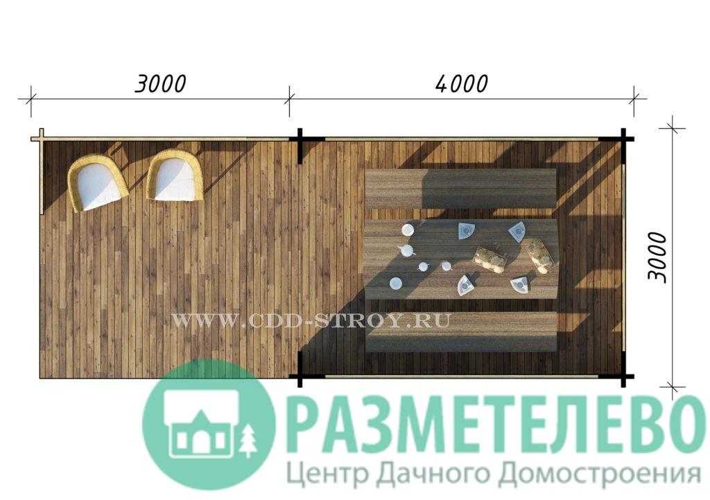 Садовая беседка 3000х7000 (09)