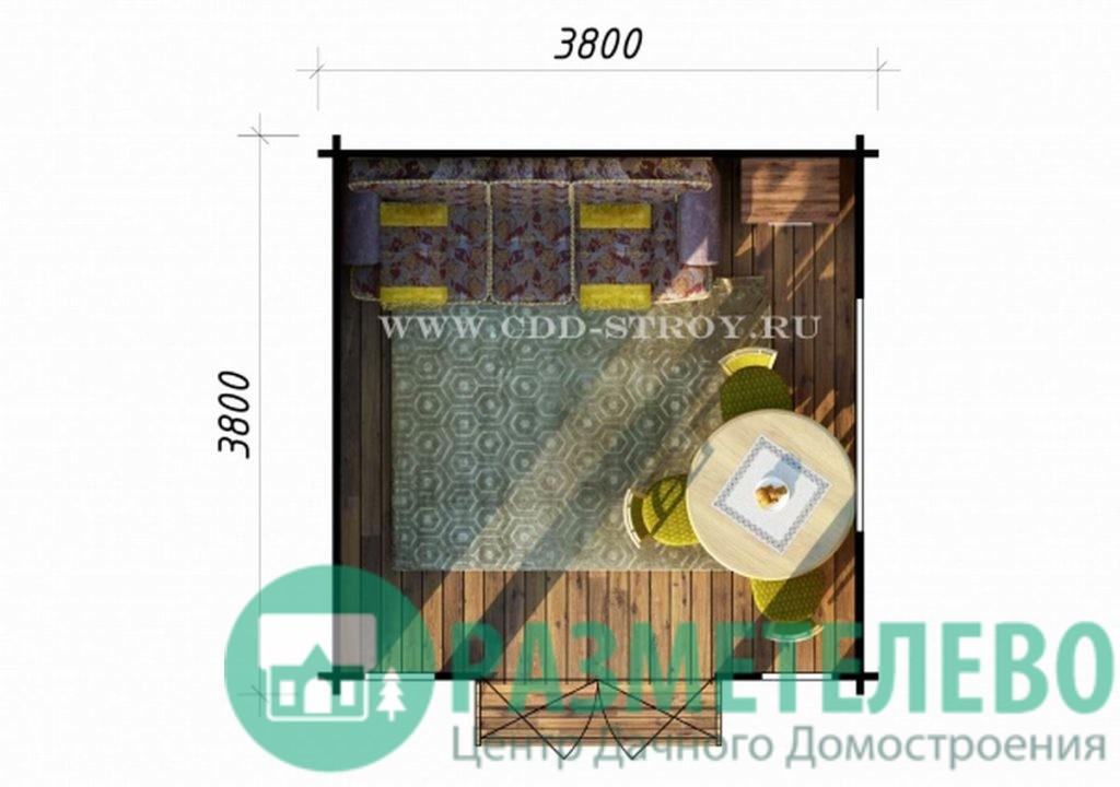 Домик садовый кухня 3800х3800 (11)