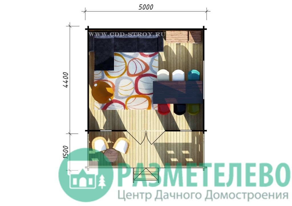 Домик садовый с верандой 5000х4500+1500 (16)