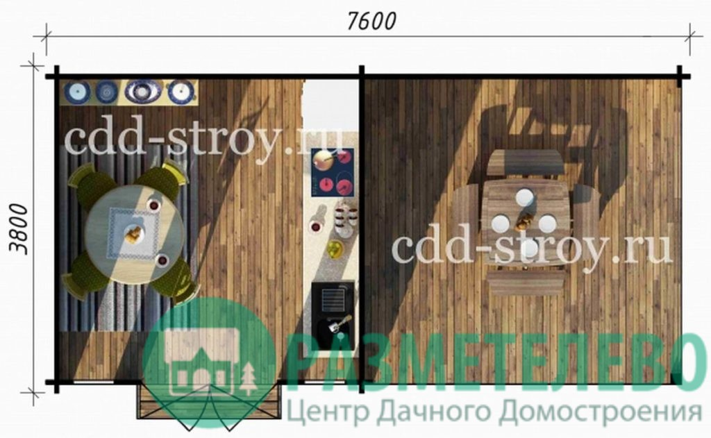 Дом садовый 3800х3800+3800 (18)