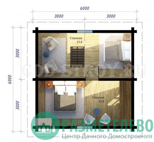 Дачный дом с крыльцом 6х6 (24)